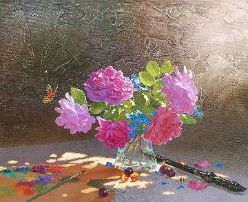 Roses on  Gray Table 2012 16x20 Original Painting - Michael Gorban