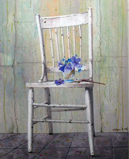 Blue Bouquet on Chair 2009 30x24 Original Painting - Michael Gorban