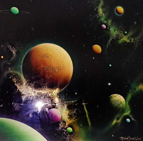 Golden Moon Dust 1993 36x36 Original Painting by Michael David Ward