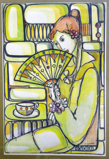 Girl Holding Fan Watercolor 36x29 Watercolor - Jose Mijares