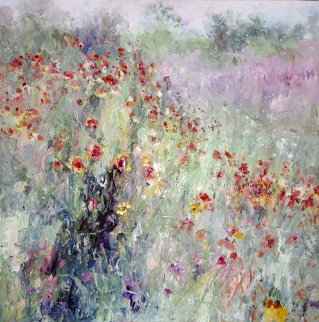 Field By My House 1992 39x39 Original Painting - Henrietta  Milan