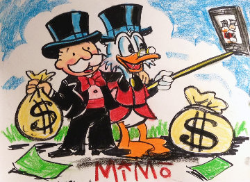 Mike Mozart Monopoly Man And Scrooge Selfie Unique 2015 25x18 Works on Paper (not prints) -  MiMo