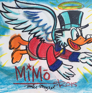 Mike Mozart Large Flying Scrooge With Money Unique 2015 25x18 Original Painting -  MiMo