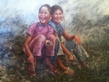 Two Happy Fish Girls 1976 38x50 Original Painting - Wai Ming
