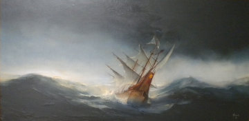 Untitled Seascape with Ship 1968 32x56 Original Painting - Ed Miracle