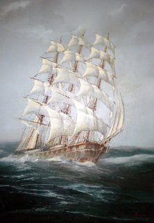 Untitled (Sailing Ship) 38x26 Original Painting - Ed Miracle