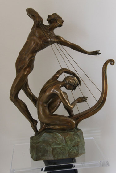 Harp Player Bronze Sculpture 25 in