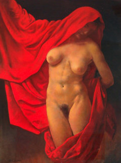 Lady With Red Cape Pastel 46x37 Original Painting - Ron Monsma