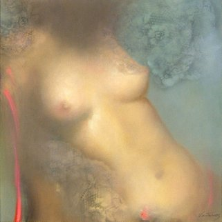 Nude 2005 30x30 Original Painting - Victoria Montesinos