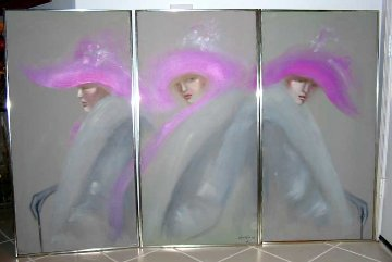 Woman Triptych 48x72 Original Painting - Victoria Montesinos