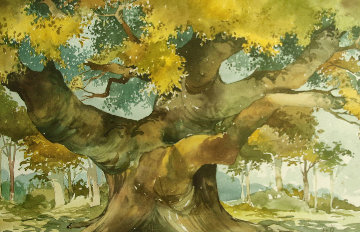 Robin Hood's Oak Watercolor 1998 24x32 Watercolor - Wayland Moore