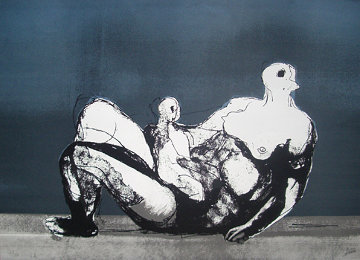 Reclining Mother And Child With Blue Background 1983 Limited Edition Print - Henry Moore