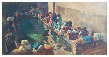 Village Laundry 24x48 Original Painting - Fil Mottola