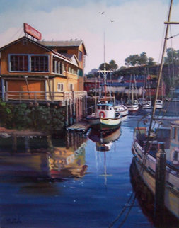 Untitled (California Harbor) 1980 32x28 Original Painting - Fil Mottola