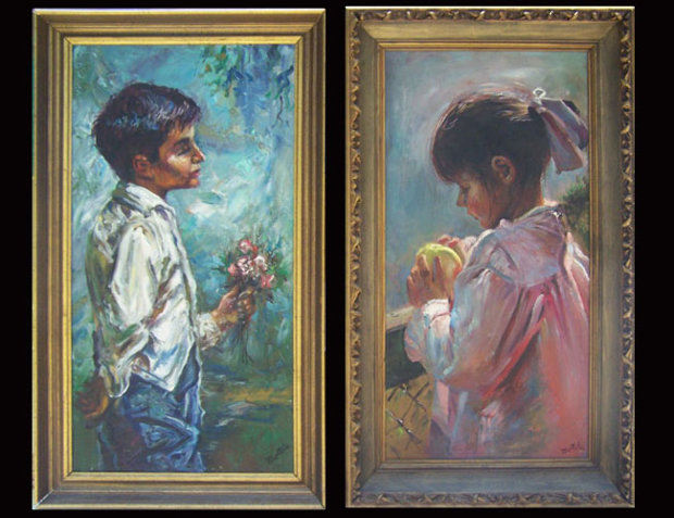 Blue Boy and Pink Girl 1966 Set of 2 30x30