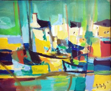 Port Aux Maisons Jaunes (Harbor of Yellow Houses) 1990 27x31 Original Painting - Marcel Mouly