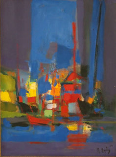 Untitled Harbor 1986 29x22 Original Painting - Marcel Mouly