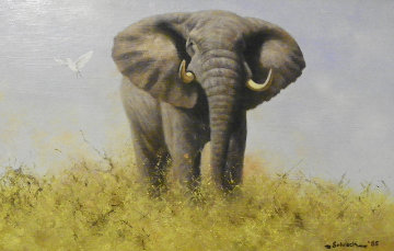 Elephant 1985 19x13 Original Painting - Michael Schreck