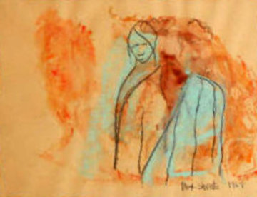 Man Woman Watercolor 1969 20x17 Watercolor - Max Shertz
