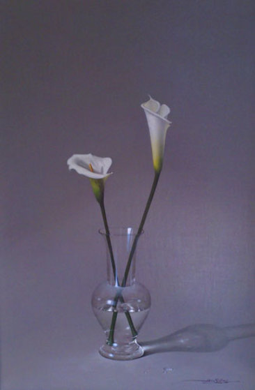 Two Lillies in Vase 48x36