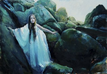 Mermaid Has Climber To Shore, She Waits For the Prince Who Will Bring Immortality. Original Painting - Kristian Mumford