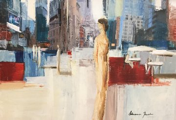 In the City 23x30 Original Painting - Adriana Naveh