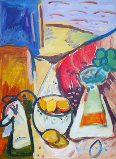 Still Life with Lemons 1994 (very early work) 34x17 Original Painting - Alexandra Nechita