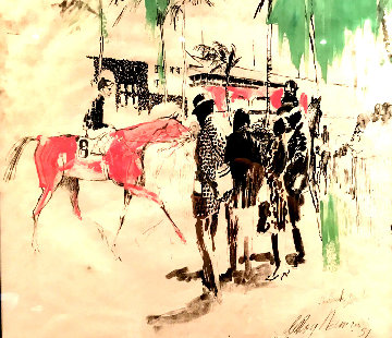 Hialeah Racetrack in Florida Mixed Media 1959 29x27 Works on Paper (not prints) - LeRoy Neiman