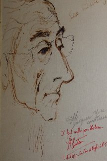Jacques Cousteau  Sea Blue Eyes 1975  21x16 HS Cousteau Drawing - LeRoy Neiman