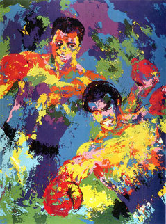 Ali-foreman Zaire (muhammad Ali 1974 3 Signatures Limited Edition Print - LeRoy Neiman