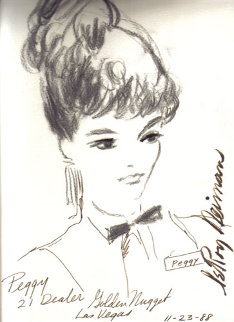 Peggy 21 Dealer, Golden Nugget, Las Vegas 1988 13x9 Drawing by LeRoy Neiman