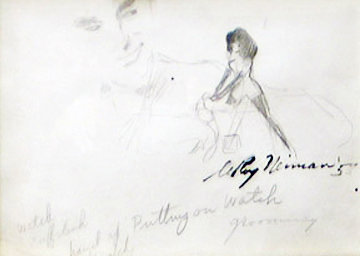 Femlin Putting on Watch Drawing 1958 Drawing by LeRoy Neiman