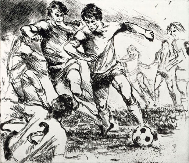 Eaux Fortes etching suite: Soccer Players 1980