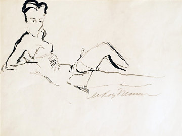 Reclining Woman Drawing 1959 26x30 Drawing - LeRoy Neiman