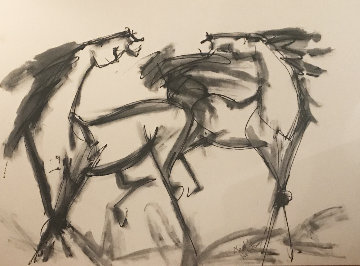 Two Large Horses  30x48 Original Painting - Neith Nevelson