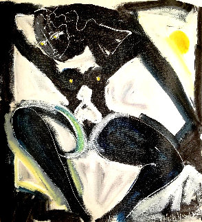 Untitled Female Nude 1993 24x21 Original Painting - Neith Nevelson