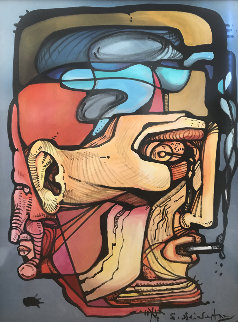 Man With Cigarette 44x33 Original Painting - Ernst Neizvestny