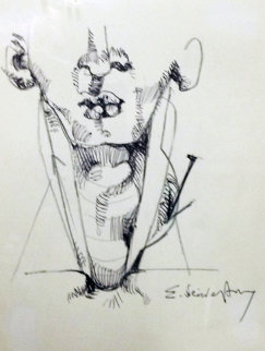 Nail in Neck 1986 Drawing - Ernst Neizvestny