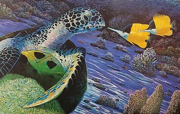 Turtle And the Butterfly 1988 Limited Edition Print - Robert Lyn Nelson