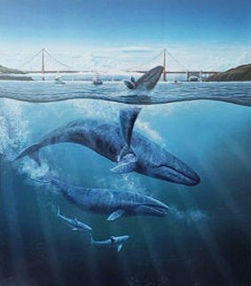 Bridge With 4 Whales,  1990,  With Remarque Limited Edition Print - Robert Lyn Nelson