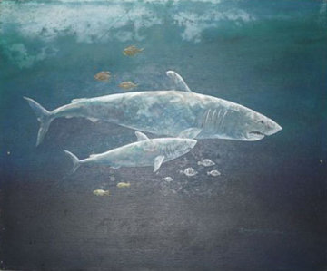 Untitled Sharks Painting (early work) 20x24 Original Painting - Robert Lyn Nelson