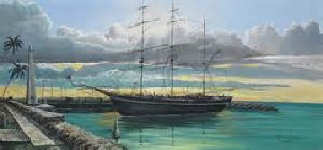 Whaling Ship, and Lahaina Harbor Front, 2 Paintings  1976 Original Painting - Robert Lyn Nelson