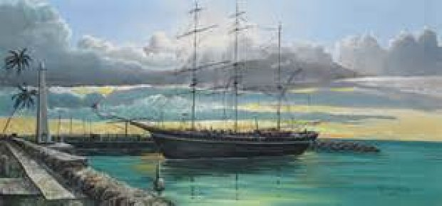 Whaling Ship, and Lahaina Harbor Front, 2 Paintings  1976