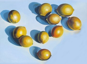 Ten Lemons on Blue 1978 65x90 Original Painting - Lowell Blair Nesbitt