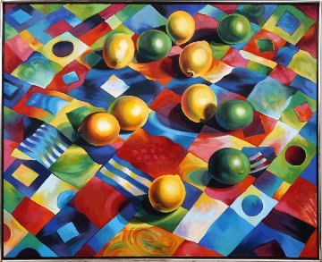 Lemons And Limes on Quilt 1988 40x49 Original Painting - Lowell Blair Nesbitt