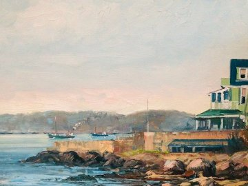 Passing Rocky Neck 1986 20x24 Original Painting - John Nesta