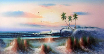 Untitled Seascape 27x51 Original Painting - Harold Newton