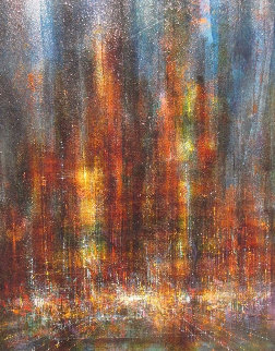 City in the Fog 1966 31x39 Original Painting - Leonardo Nierman