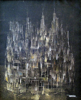 City 1959 19x15 Original Painting - Leonardo Nierman