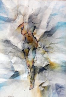 Nude Watercolor 23x18 Original Painting - Leonardo Nierman